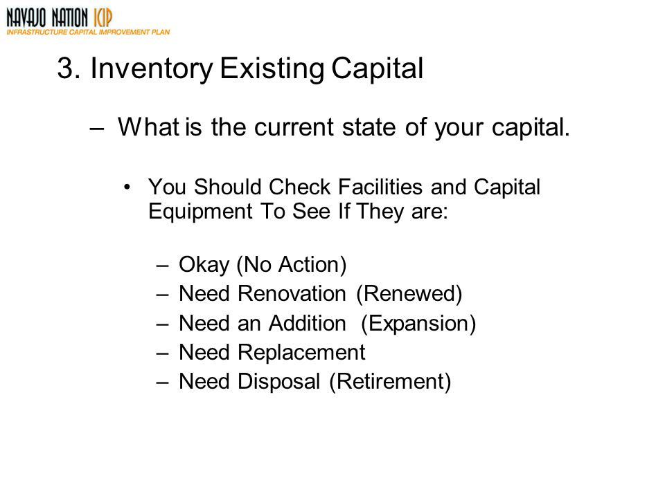 3. Inventory Existing Capital
