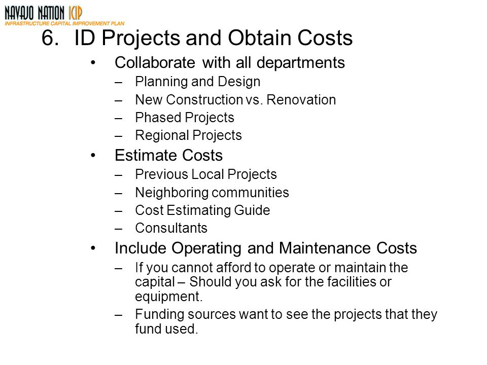 ID Projects and Obtain Costs