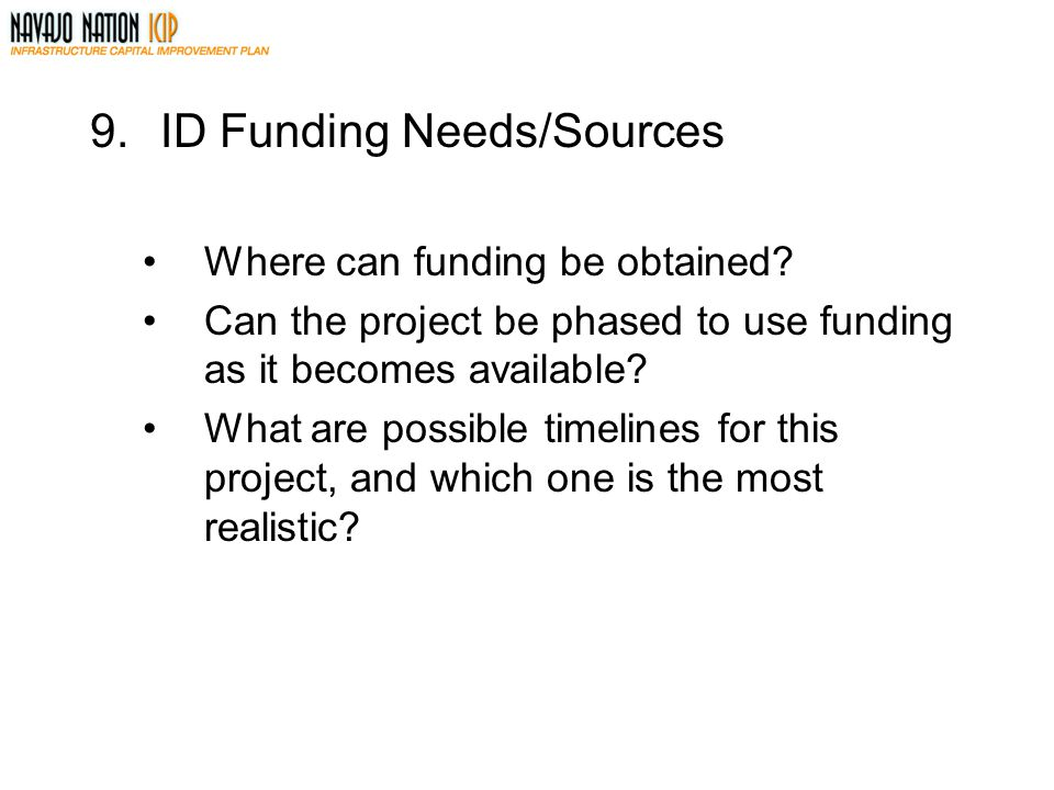 ID Funding Needs/Sources