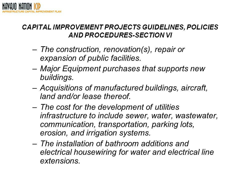 Major Equipment purchases that supports new buildings.