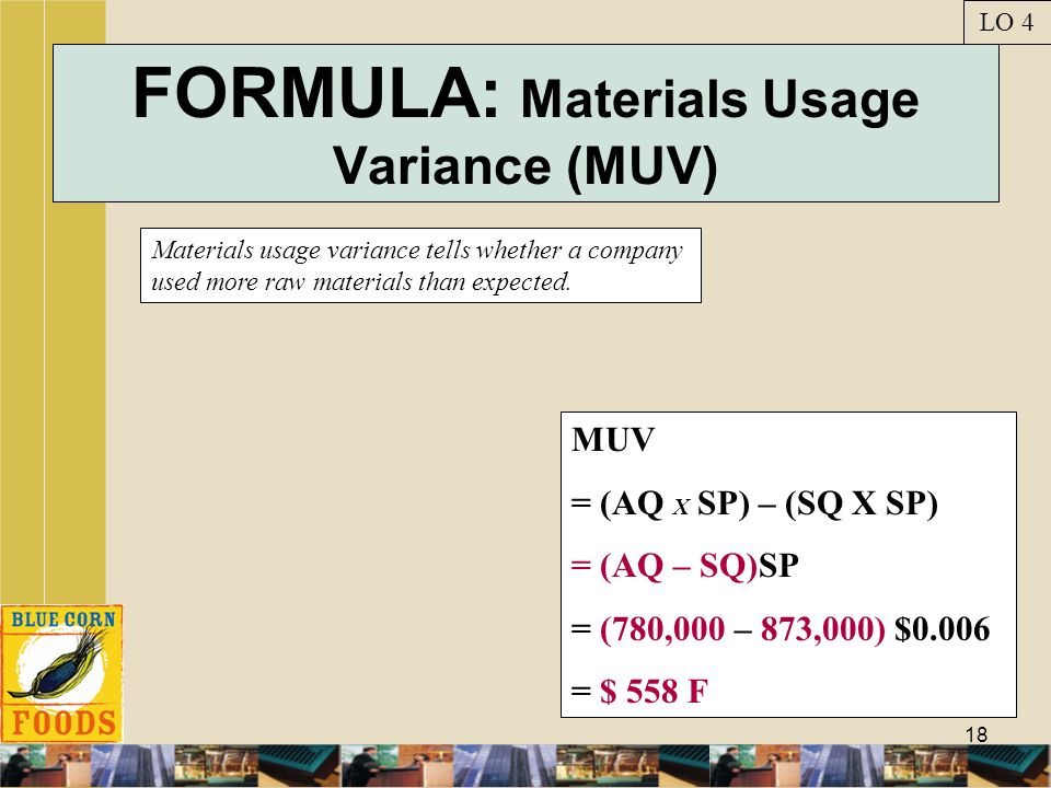 FORMULA: Materials Usage Variance (MUV)