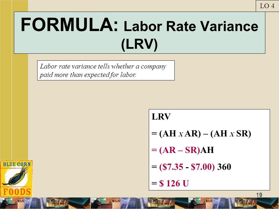 FORMULA: Labor Rate Variance (LRV)