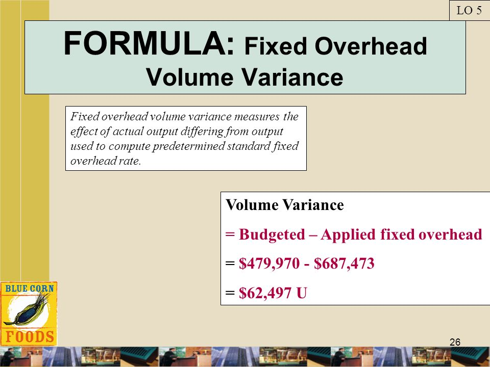 FORMULA: Fixed Overhead Volume Variance