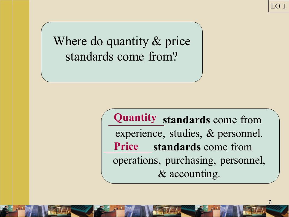 Where do quantity & price standards come from
