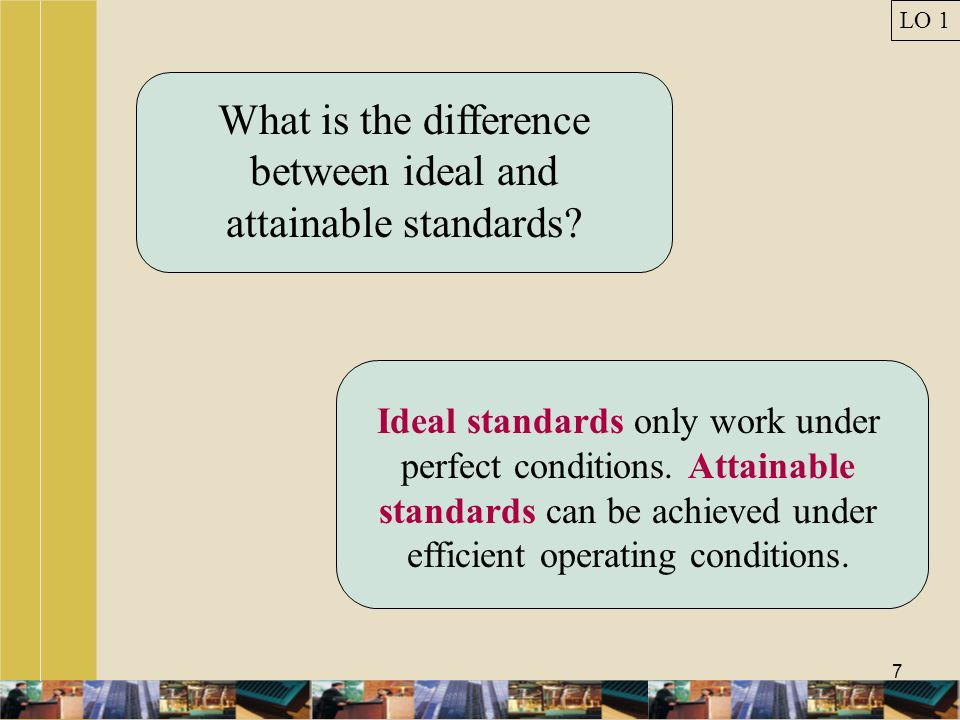 What is the difference between ideal and attainable standards