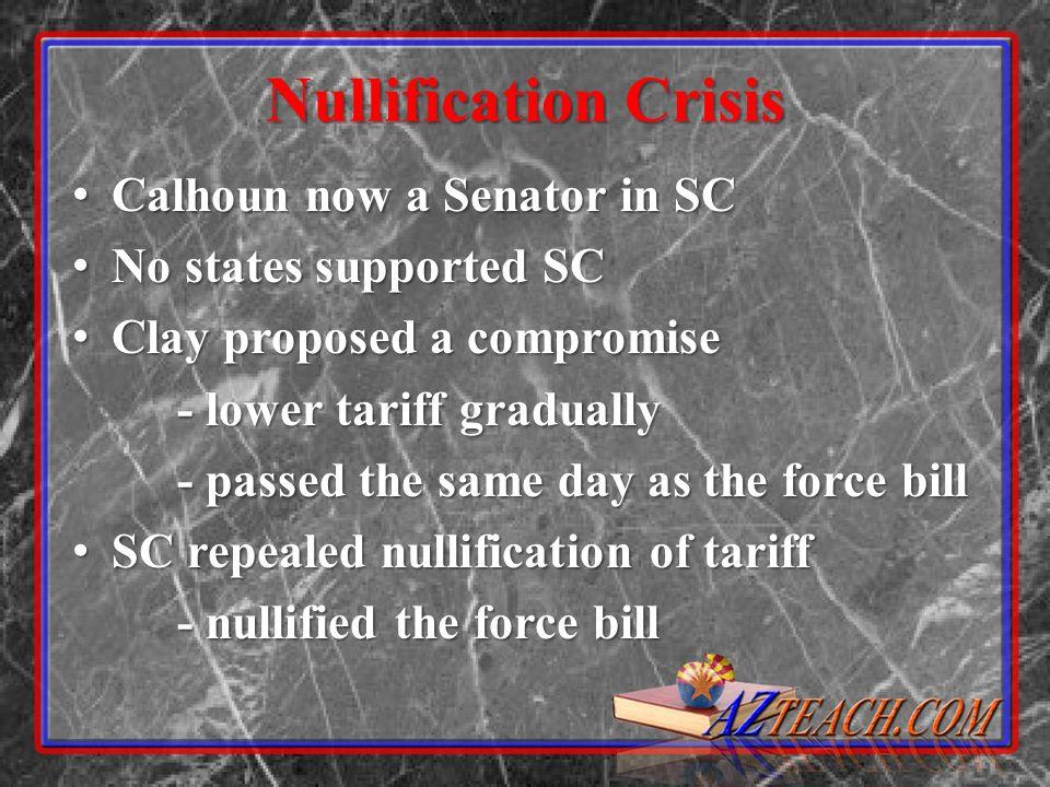 Nullification Crisis Calhoun now a Senator in SC