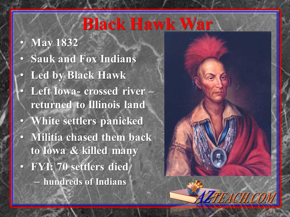Black Hawk War May 1832 Sauk and Fox Indians Led by Black Hawk