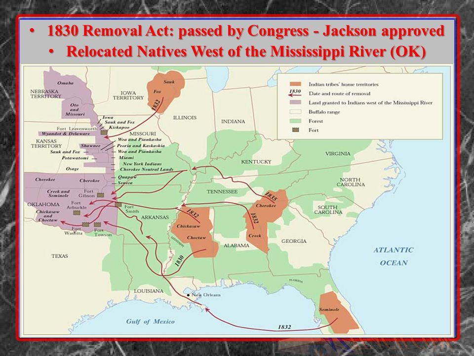 1830 Removal Act: passed by Congress - Jackson approved