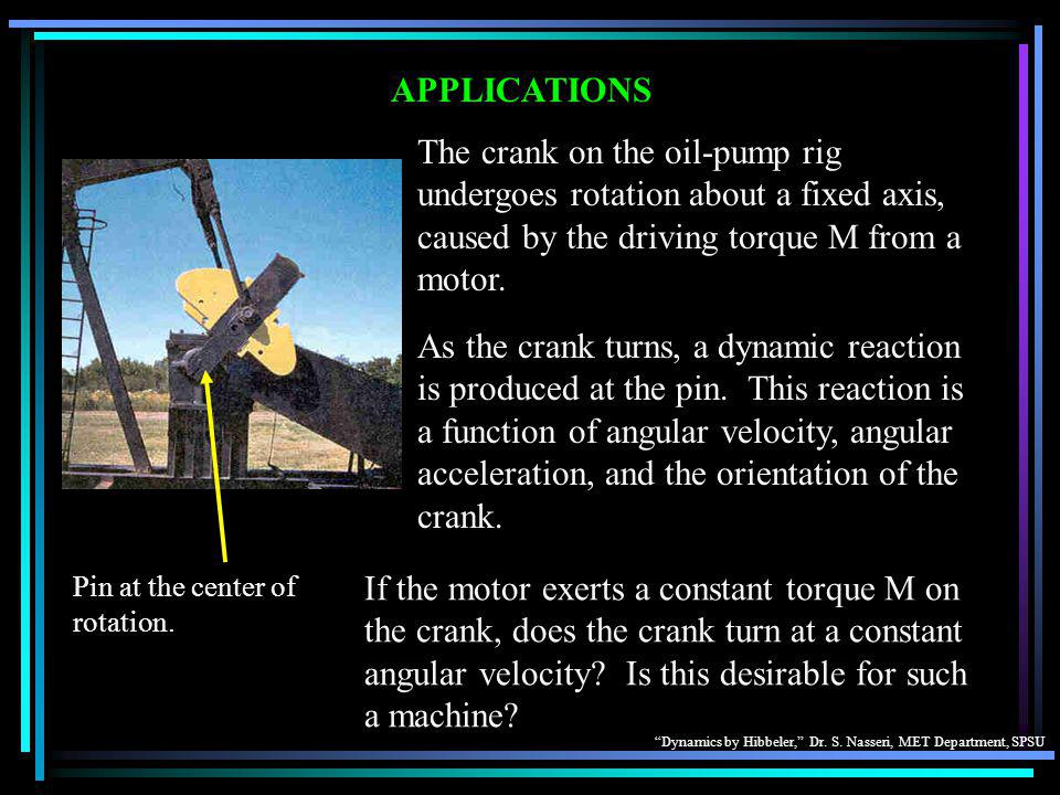 APPLICATIONS The crank on the oil-pump rig undergoes rotation about a fixed axis, caused by the driving torque M from a motor.