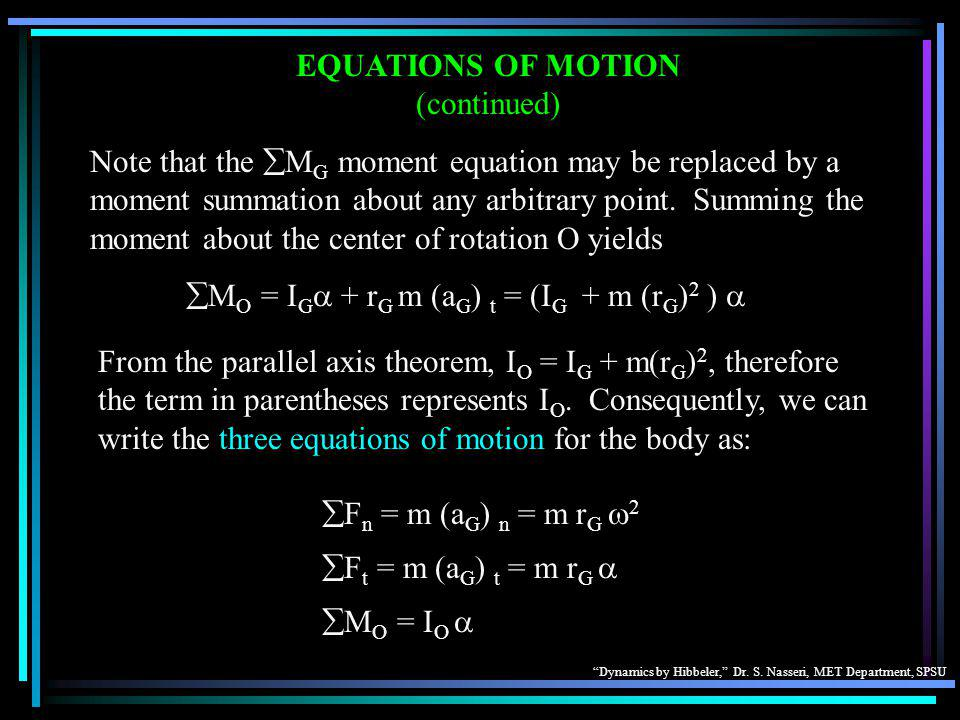 EQUATIONS OF MOTION (continued)