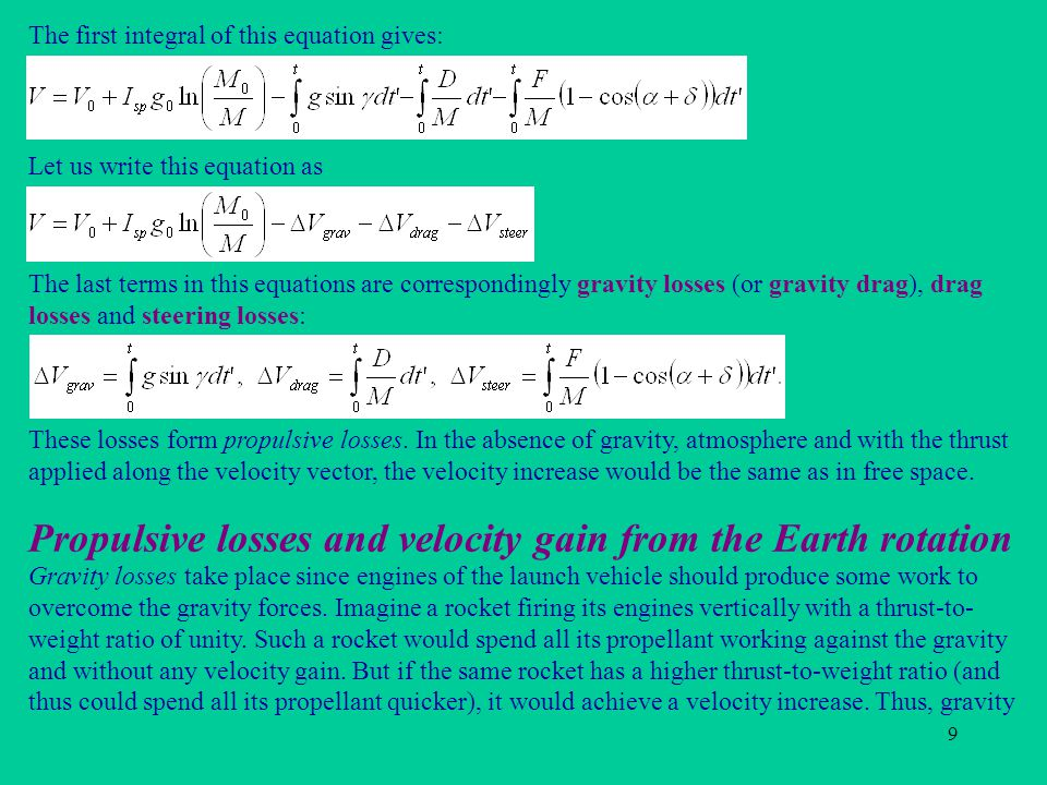 Propulsive losses and velocity gain from the Earth rotation