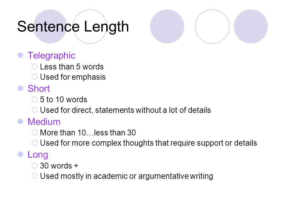 Sentence Length Telegraphic Short Medium Long Less than 5 words