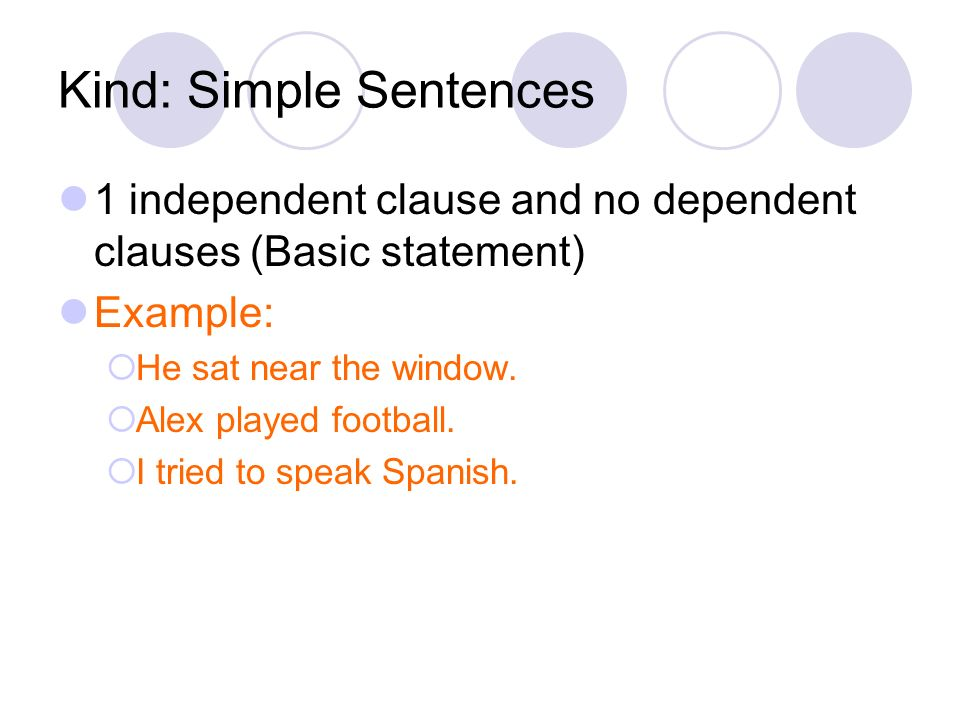Kind: Simple Sentences