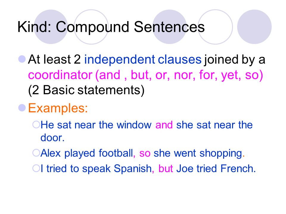 Kind: Compound Sentences