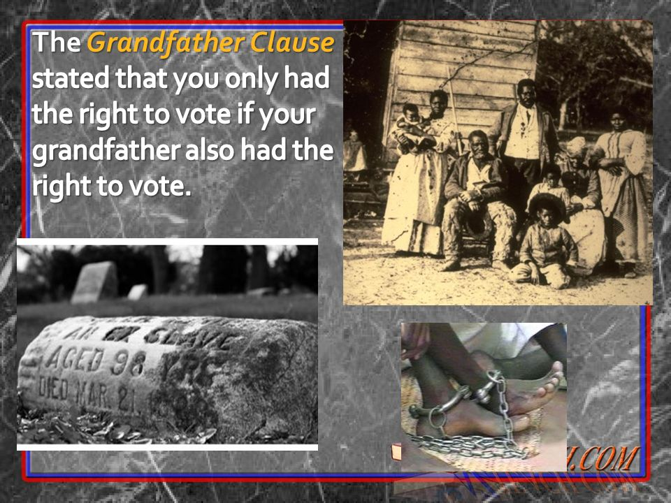 The Grandfather Clause stated that you only had the right to vote if your grandfather also had the right to vote.