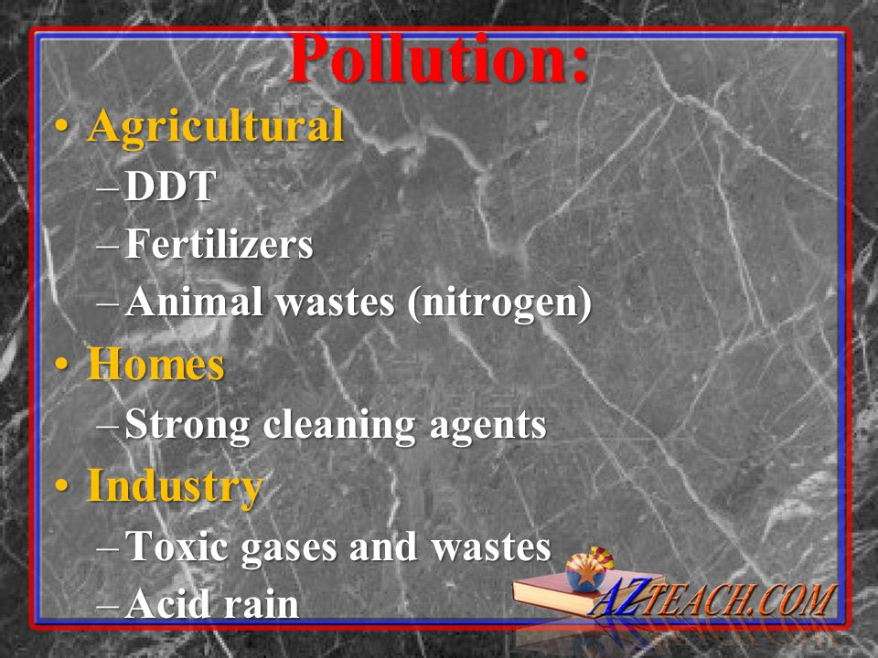 Pollution: Agricultural Homes Industry DDT Fertilizers