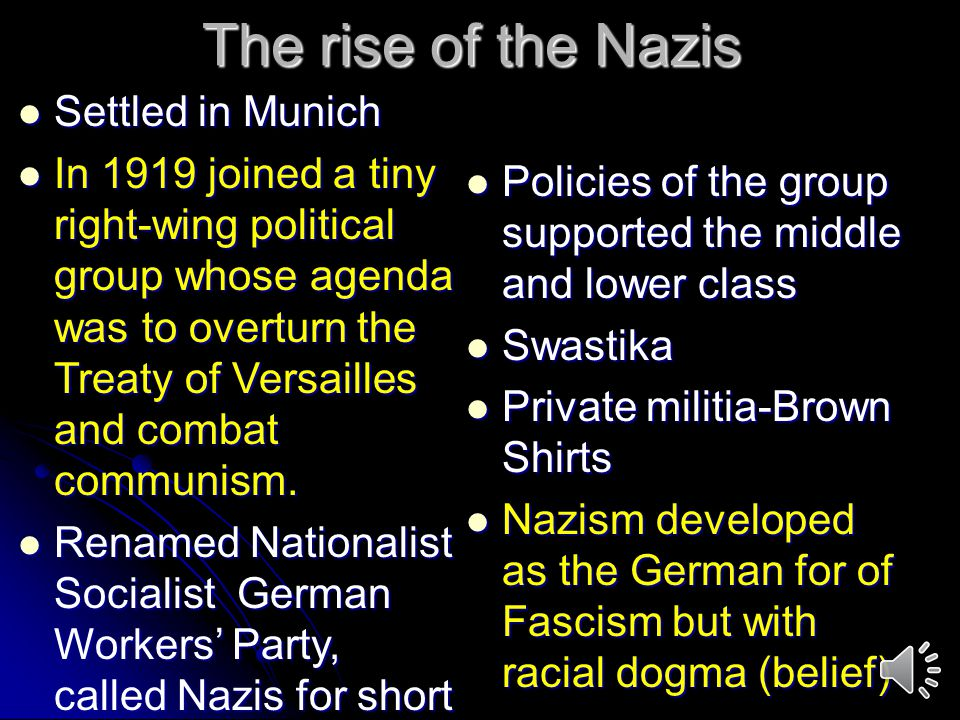 The rise of the Nazis Settled in Munich