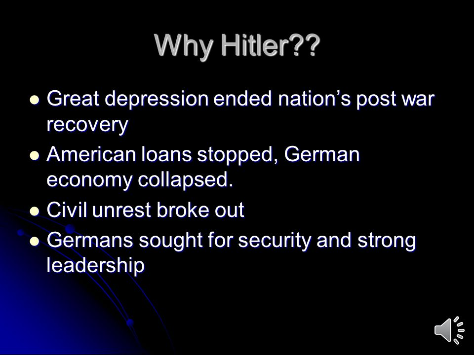 Why Hitler Great depression ended nation's post war recovery