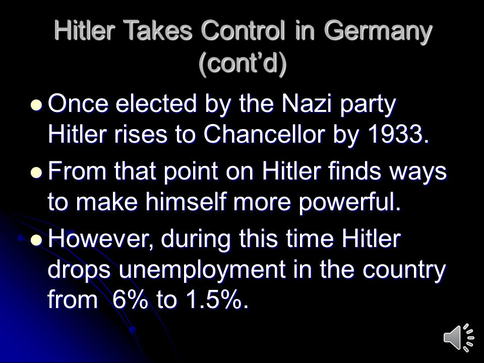 Hitler Takes Control in Germany (cont'd)