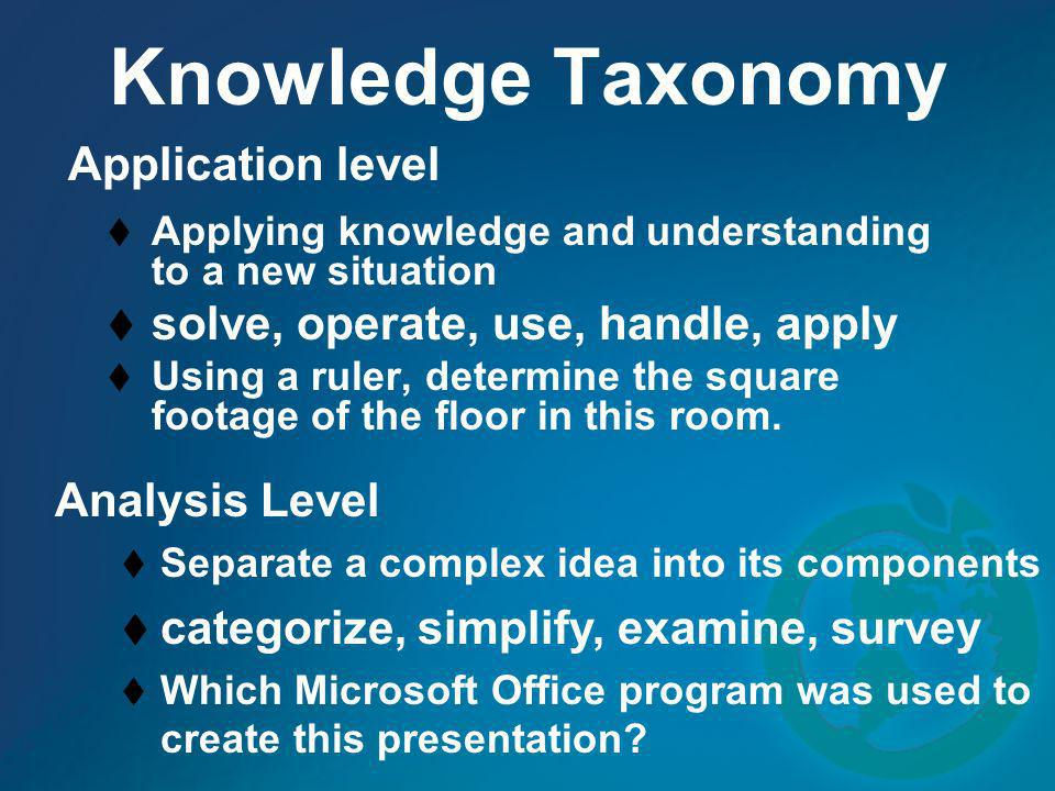 Knowledge Taxonomy Application level
