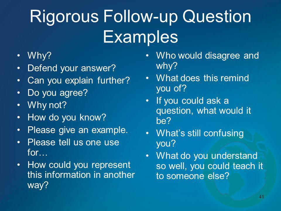 Rigorous Follow-up Question Examples