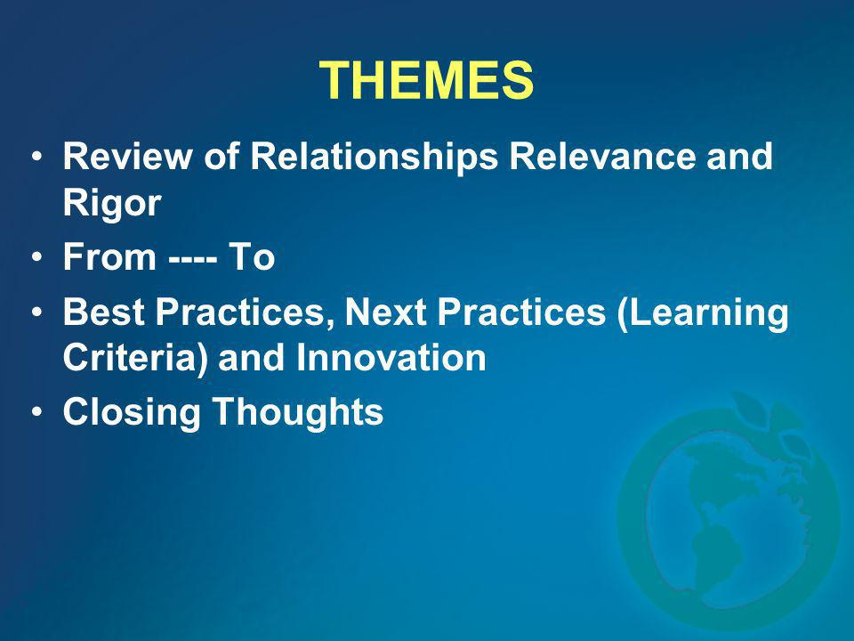 THEMES Review of Relationships Relevance and Rigor From ---- To