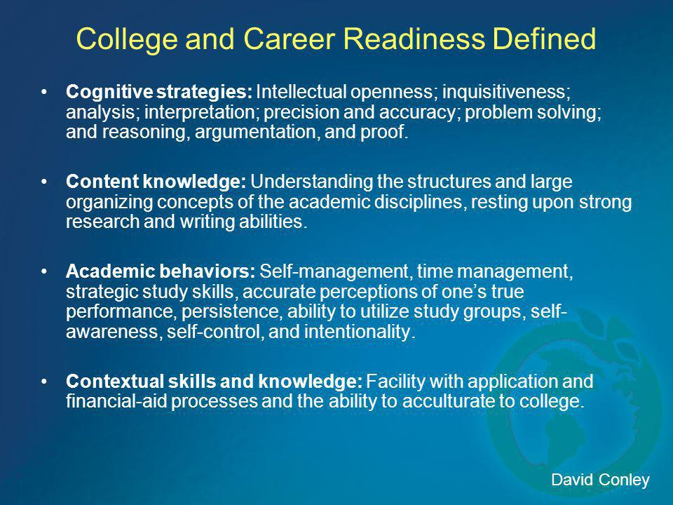 College and Career Readiness Defined