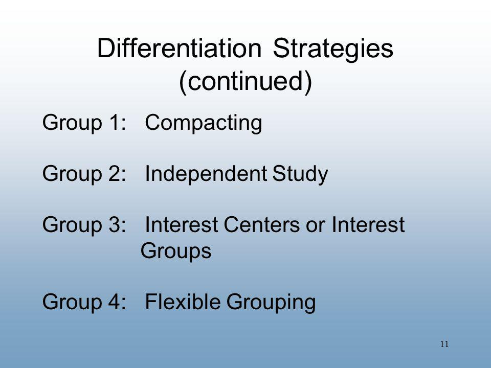 Differentiation Strategies (continued)