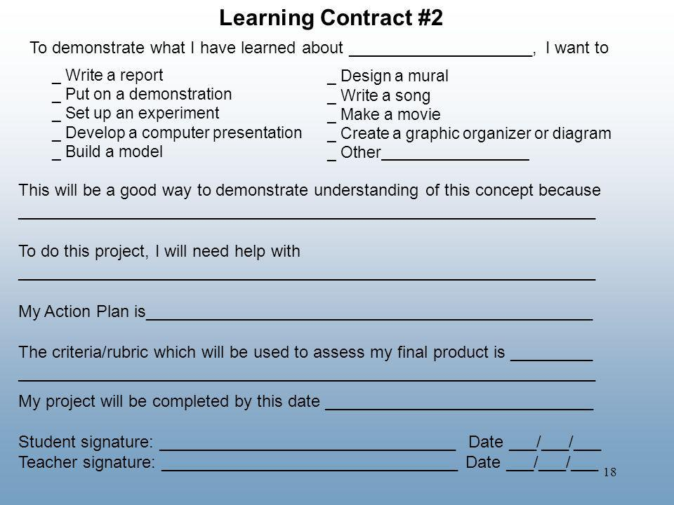 Learning Contract #2 To demonstrate what I have learned about ____________________, I want to. _ Write a report.