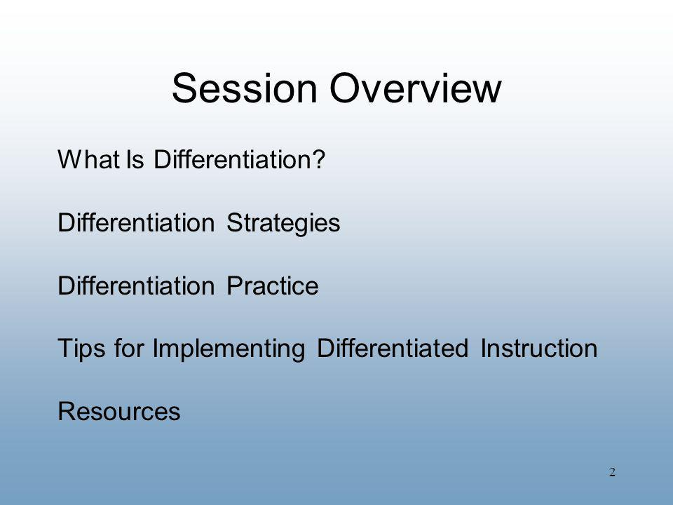 Session Overview What Is Differentiation Differentiation Strategies