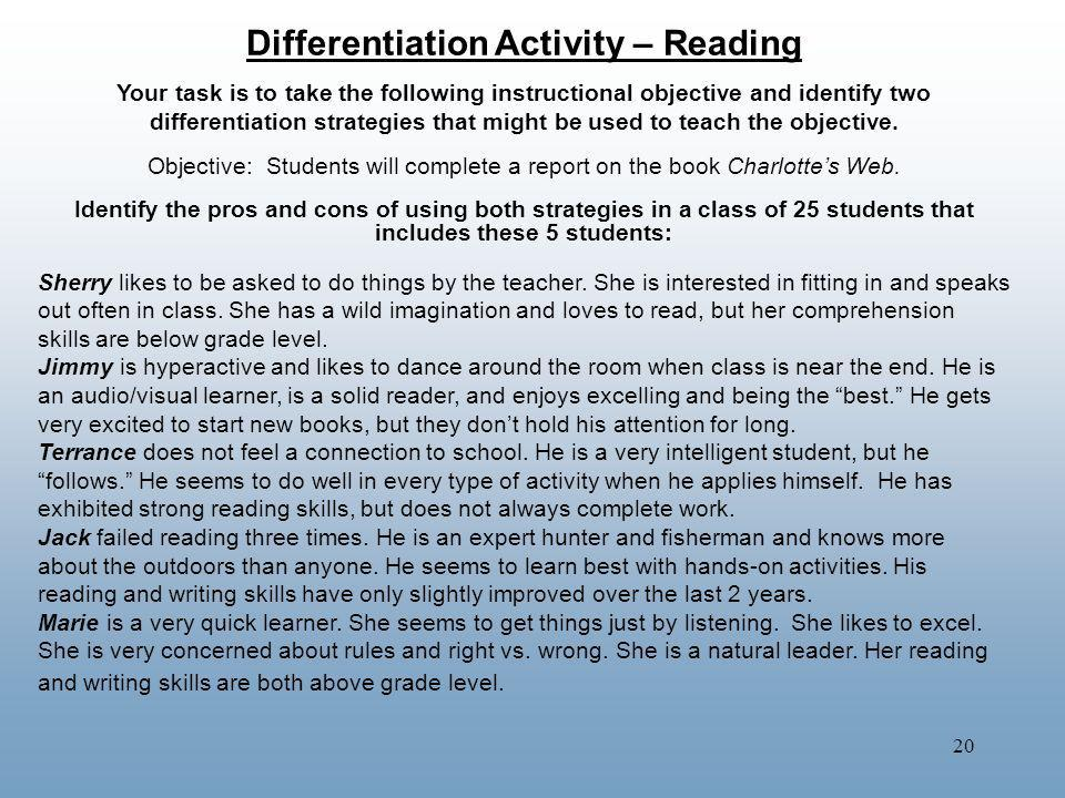 Differentiation Activity – Reading