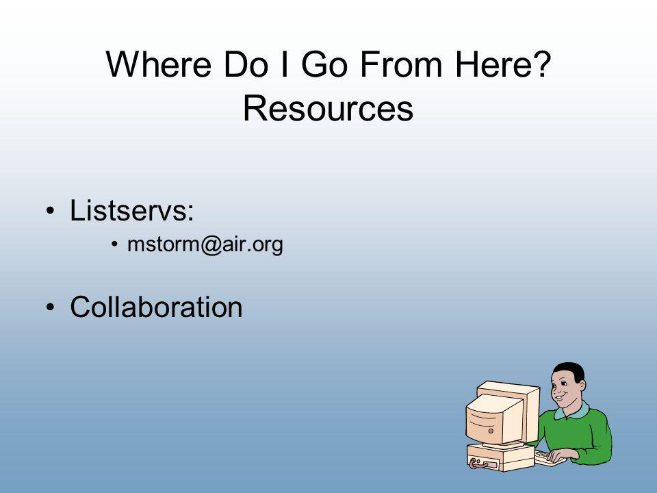 Where Do I Go From Here Resources