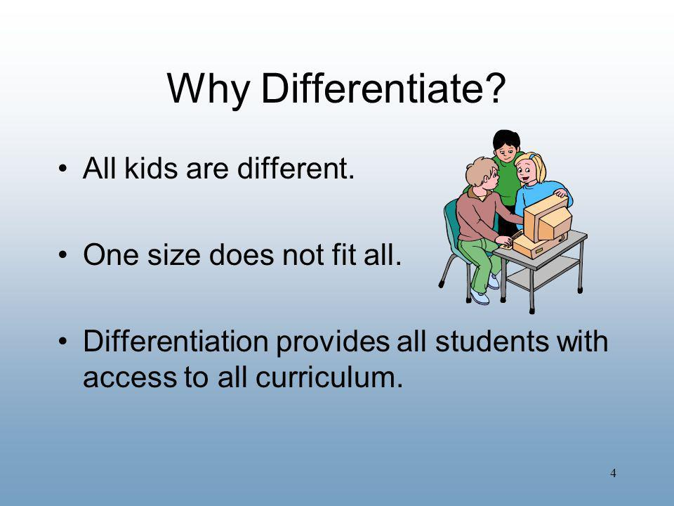 Why Differentiate All kids are different. One size does not fit all.