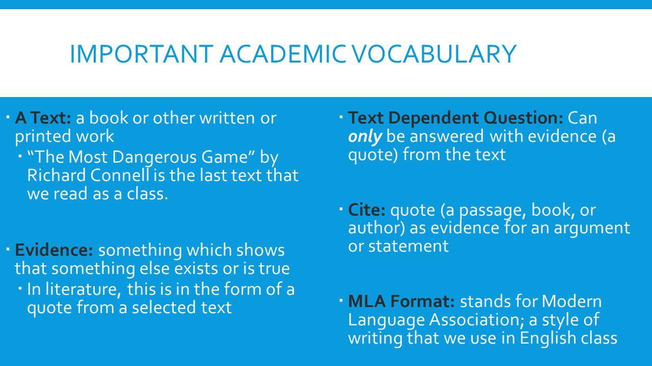 Important academic Vocabulary