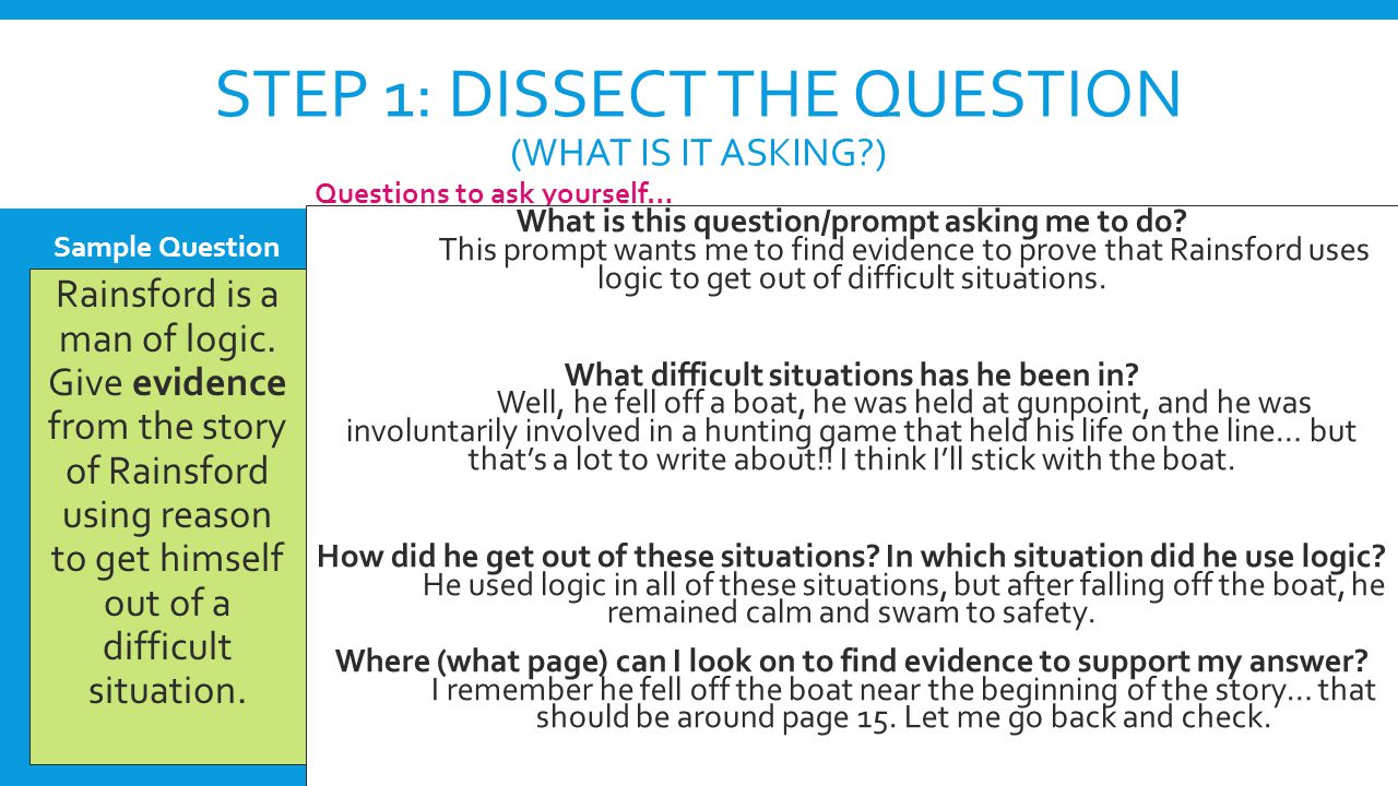 Step 1: Dissect the question (what is it asking )