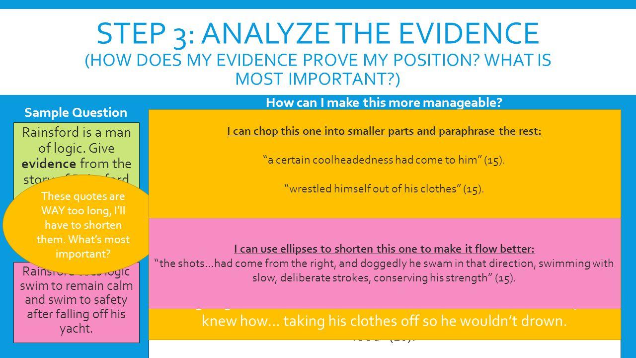Step 3: Analyze the evidence (How does my evidence prove my position