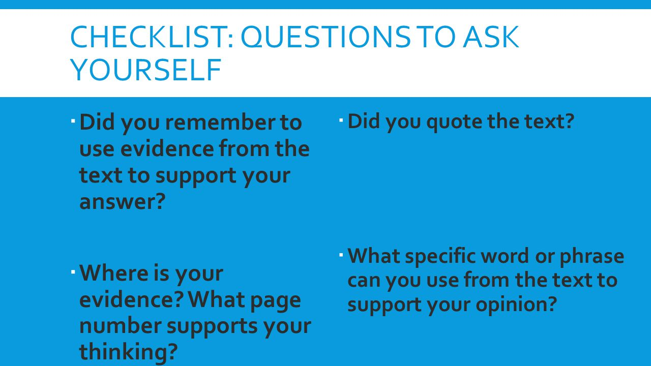Checklist: Questions to ask yourself