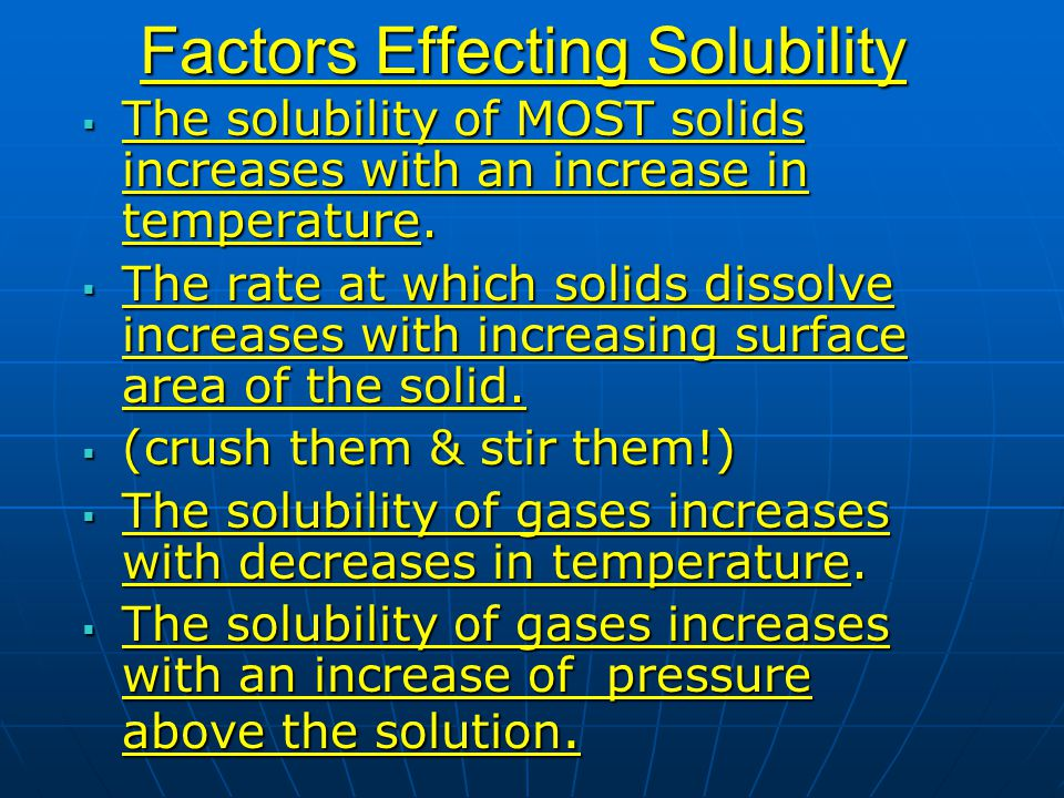 Factors Effecting Solubility