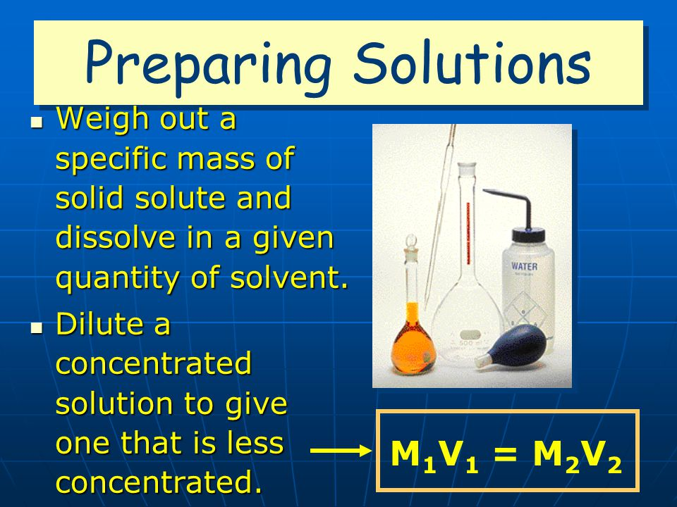 Preparing Solutions M1V1 = M2V2