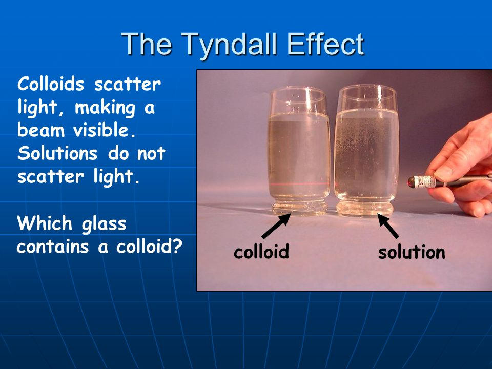 The Tyndall Effect Colloids scatter light, making a beam visible. Solutions do not scatter light. Which glass contains a colloid