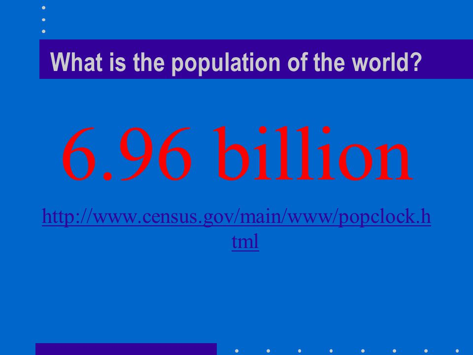 What is the population of the world