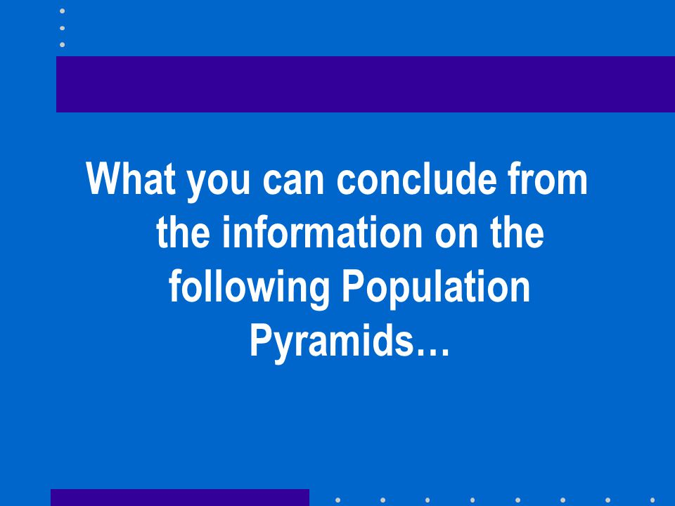 What you can conclude from the information on the following Population Pyramids…