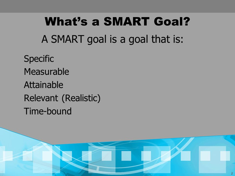 A SMART goal is a goal that is: