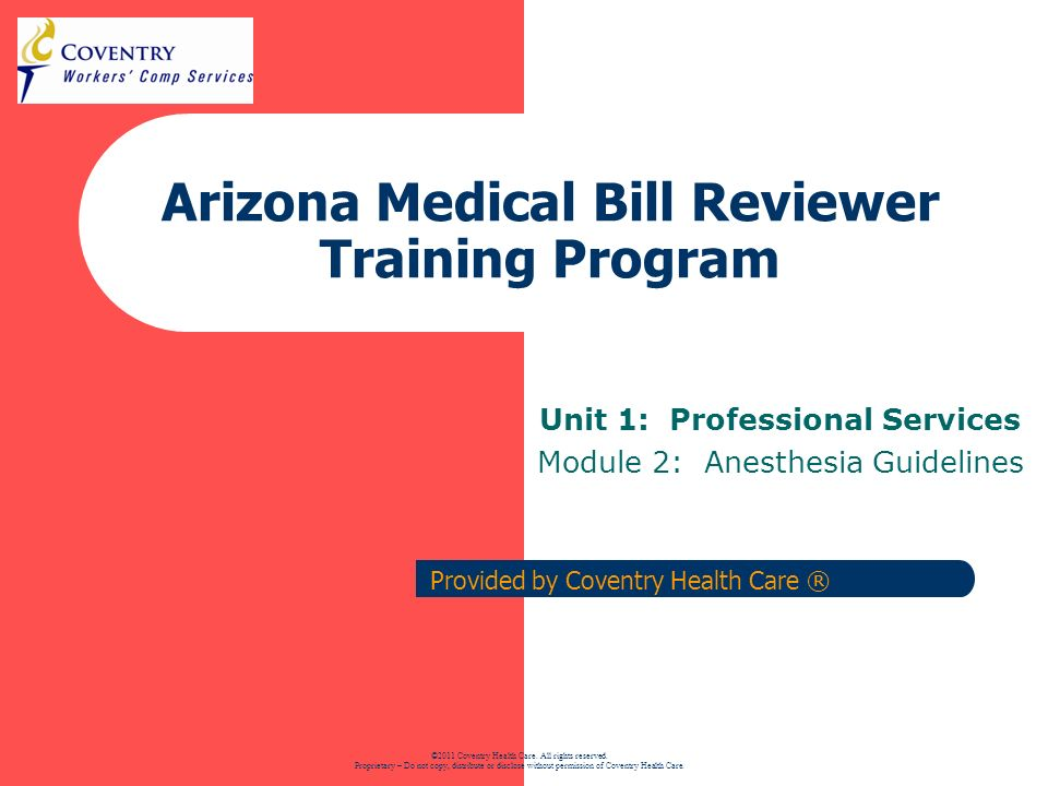 Arizona Medical Bill Reviewer Training Program