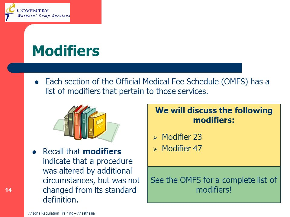 We will discuss the following modifiers: