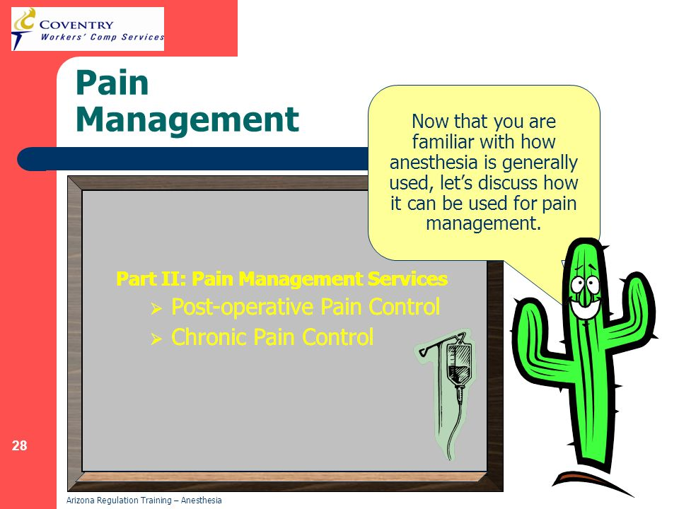 Pain Management Post-operative Pain Control Chronic Pain Control