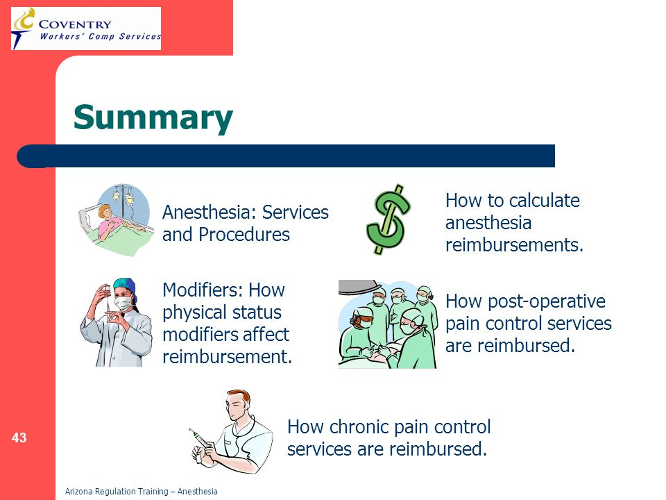 Summary How to calculate anesthesia reimbursements.