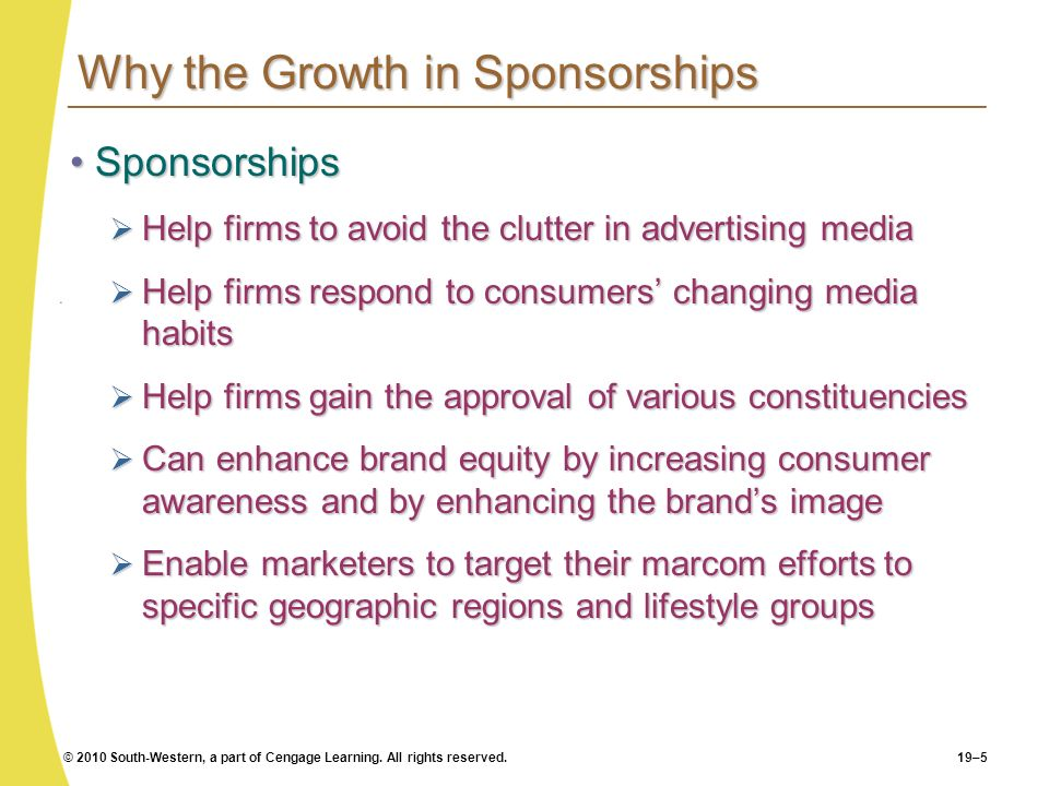 Why the Growth in Sponsorships