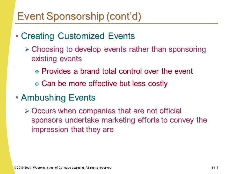 Event Sponsorship (cont'd)