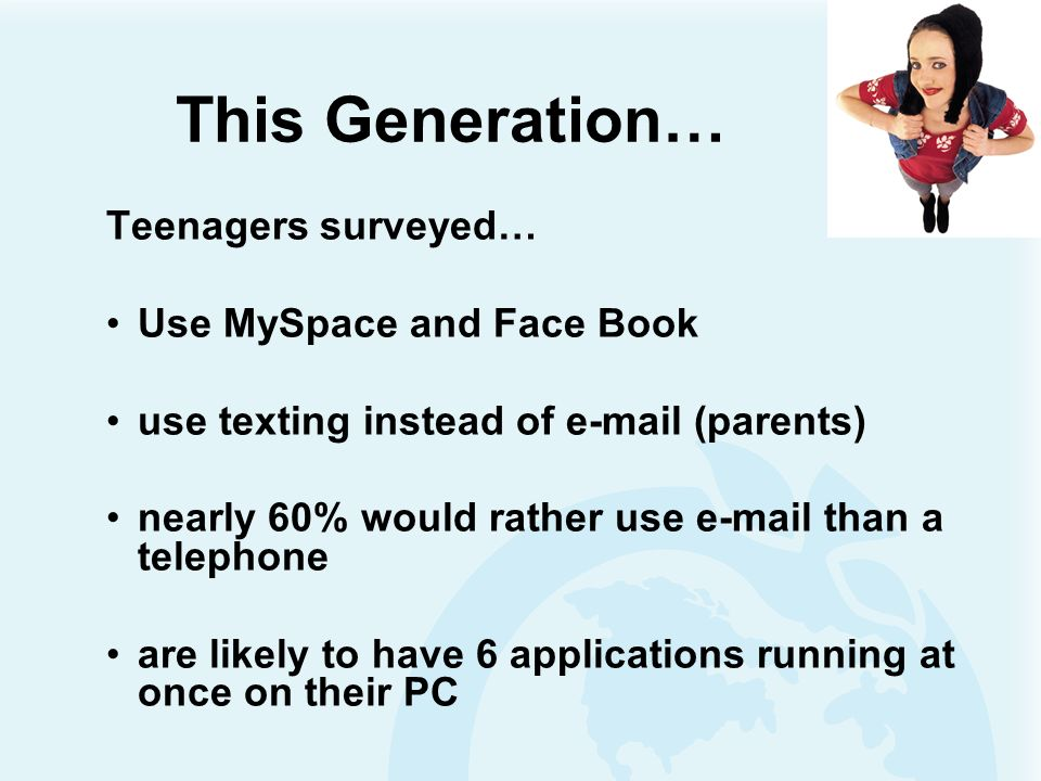 This Generation… Teenagers surveyed… Use MySpace and Face Book